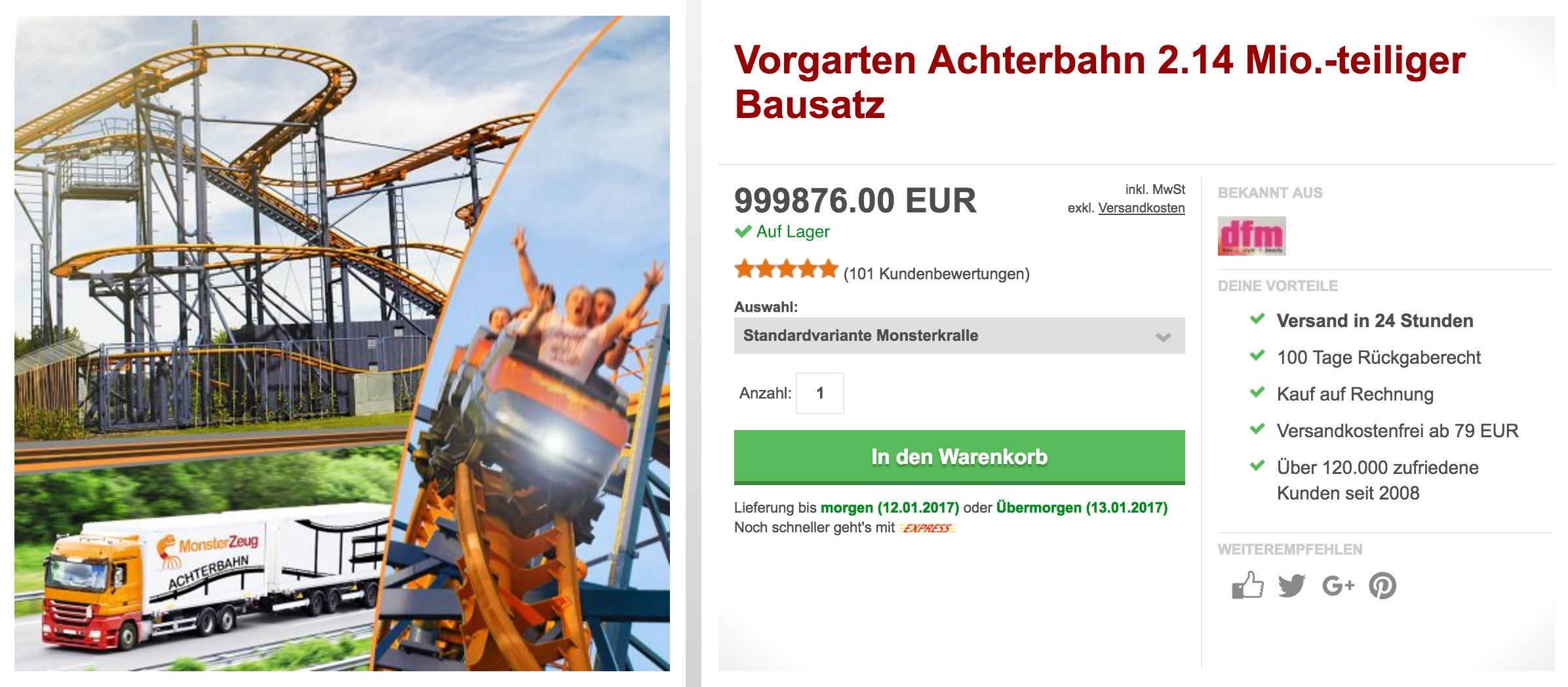 Vorgarten Achterbahn 214 Mio Teiliger Bausatz