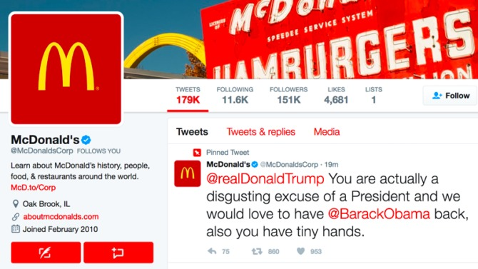 "McDonalds über Donald Trump ""disgusting excuse of a President"""