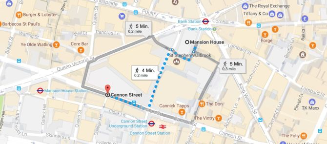 Race the Circle Line from Mansion House to Cannon Street
