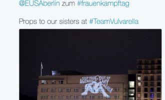 TeamVulvarella projiziert zum Weltfrauentag auf US-Botschaft