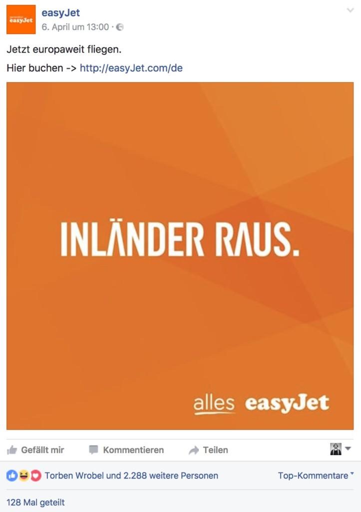 "easyJet ""Inländer raus!"""