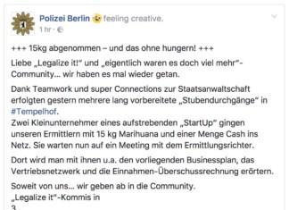 15kg Marihuana und die Berliner Polizei ist krativ
