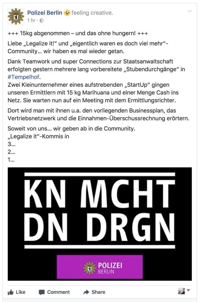 15kg Marihuana und die Berliner Polizei wird kreativ