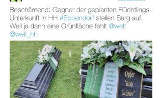 Eppendorfer protestieren mit Sarg gegen Bau einer Flüchtlingsunterkunft