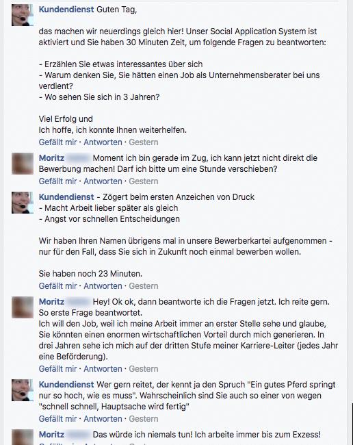 bewerbungs chat auf facebook mit dem kundendienst - Rossmann Bewerbung Online
