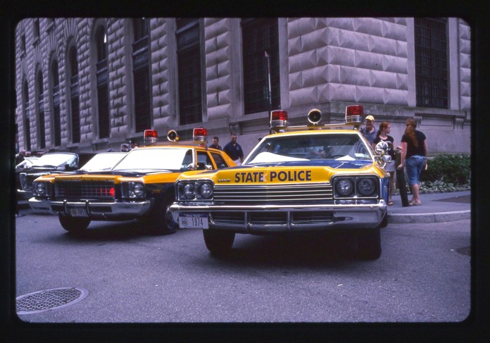 Vintage New York State Police Car, Blue and Yellow
