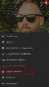 Benutzervorgaben in die Lightroom CC App importieren