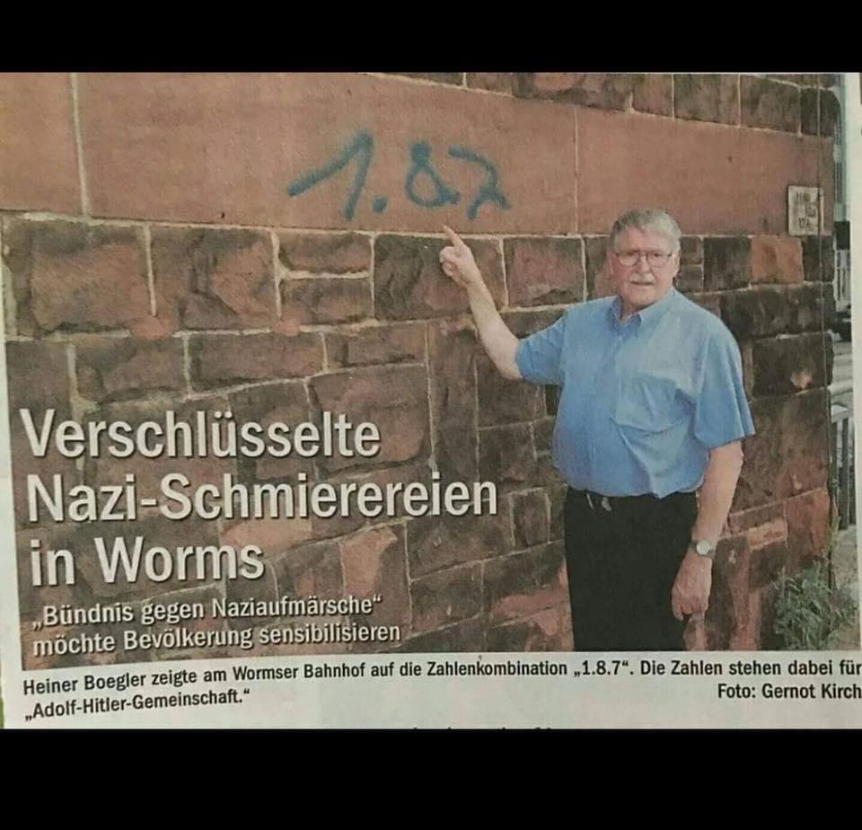 """187Nazibande? - """"Verschlüsselte Nazi-Schmierereien in Worms gefunden""""!"""