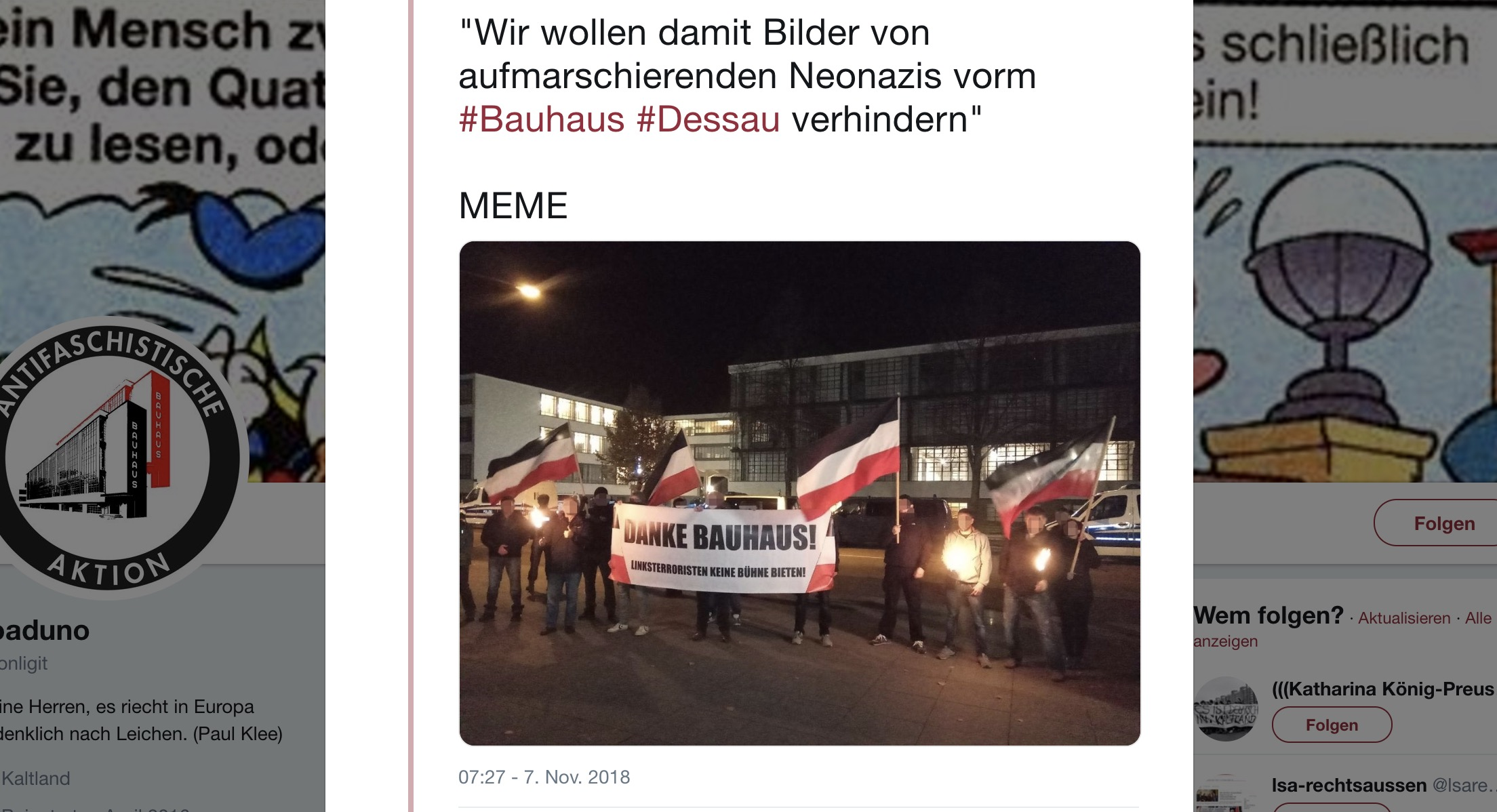 Alles falsch gemacht: Nazis bedanken sich beim Bauhaus Dessau