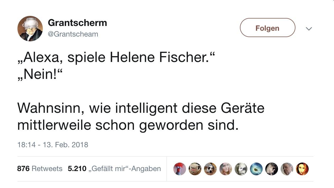 """Tweet des Tages: """"Alexa, spiel Helene Fischer"""""""