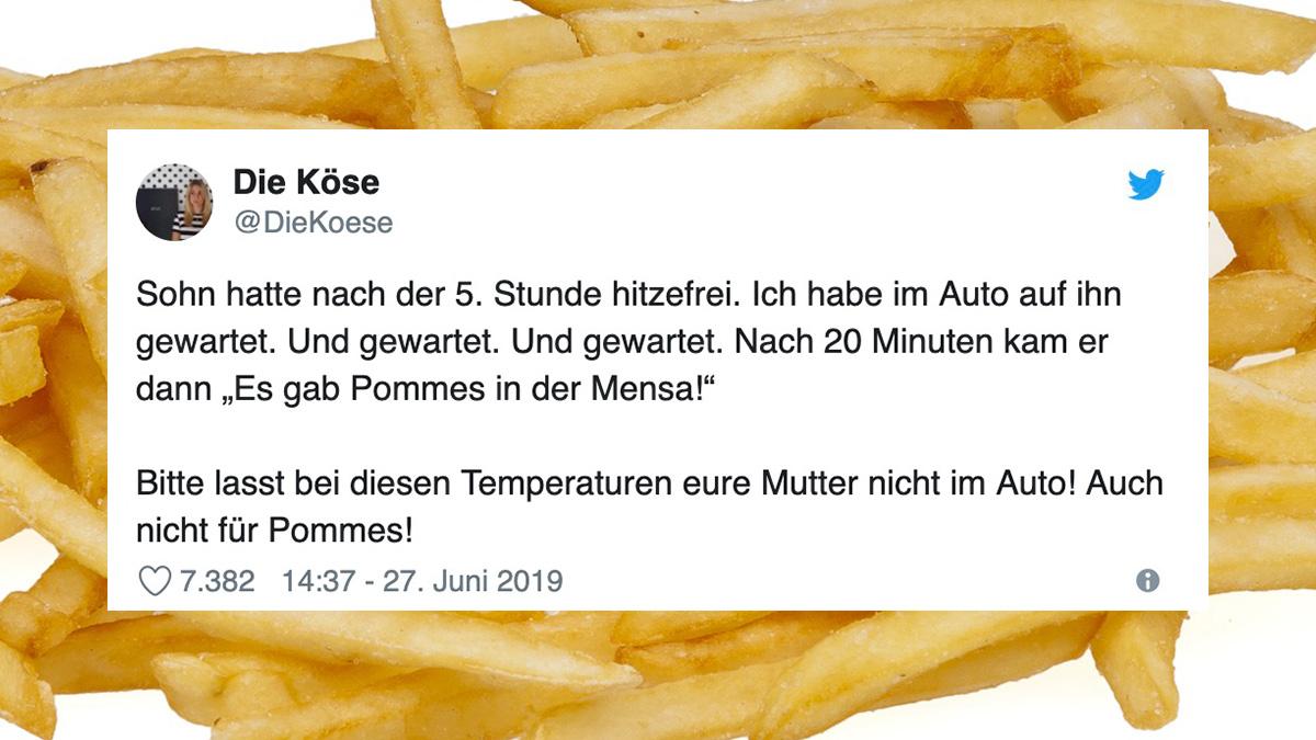 Tweet des Tages: Hitzefrei vs. Pommes