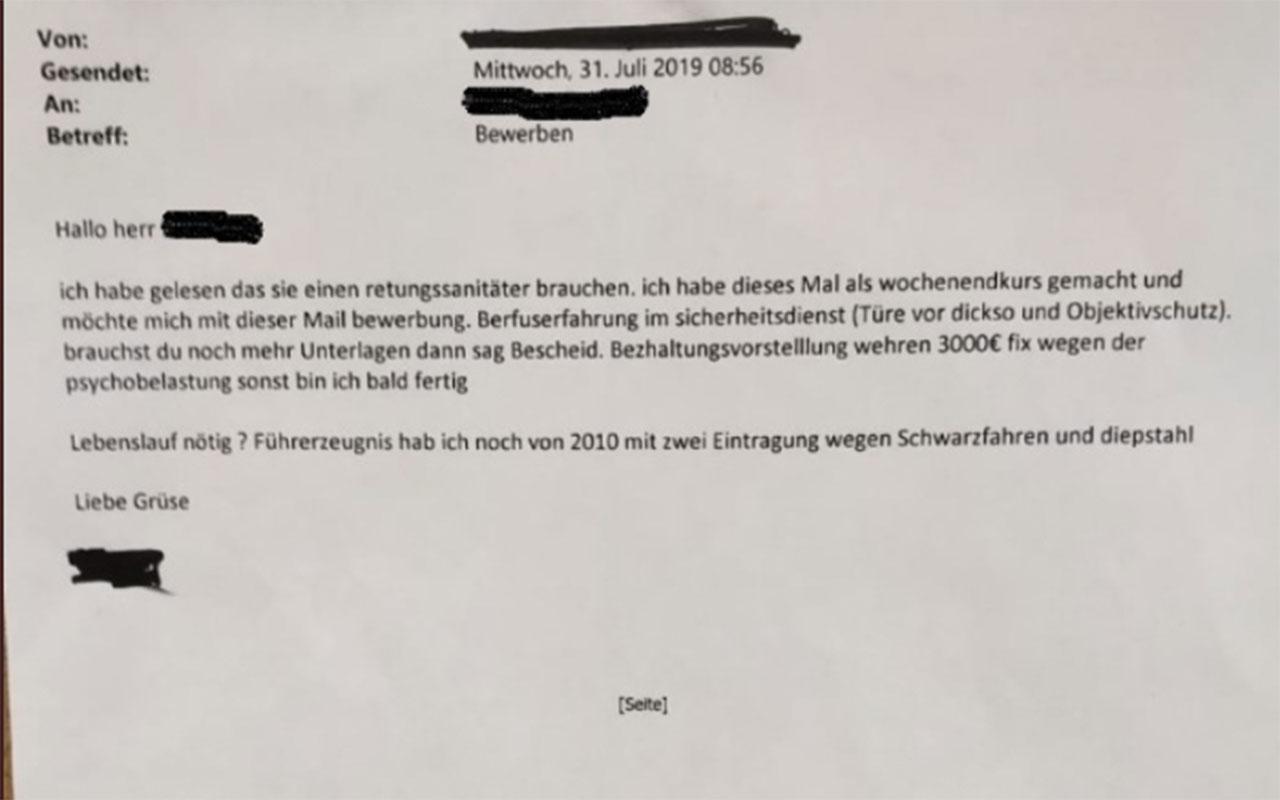 """Bewerbung des Jahres 2019: """"3000€ fix wegen der psychobelastung"""""""