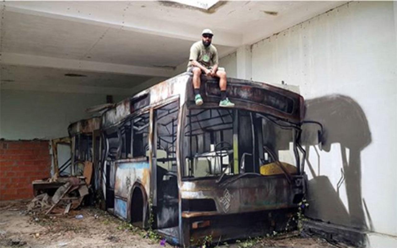 Streetart: Kreativer Typ macht aus Beton einen Bus